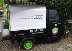 Coffee scooter with PVC banner for AUDI Denmark - Kalles Kaffe