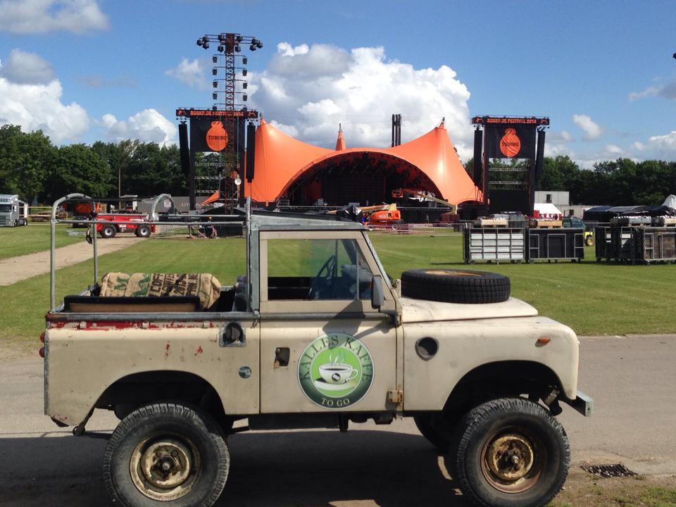 Coffee jeep in front of the Orange Stage at Roskilde Festival - Kalles Kaffe