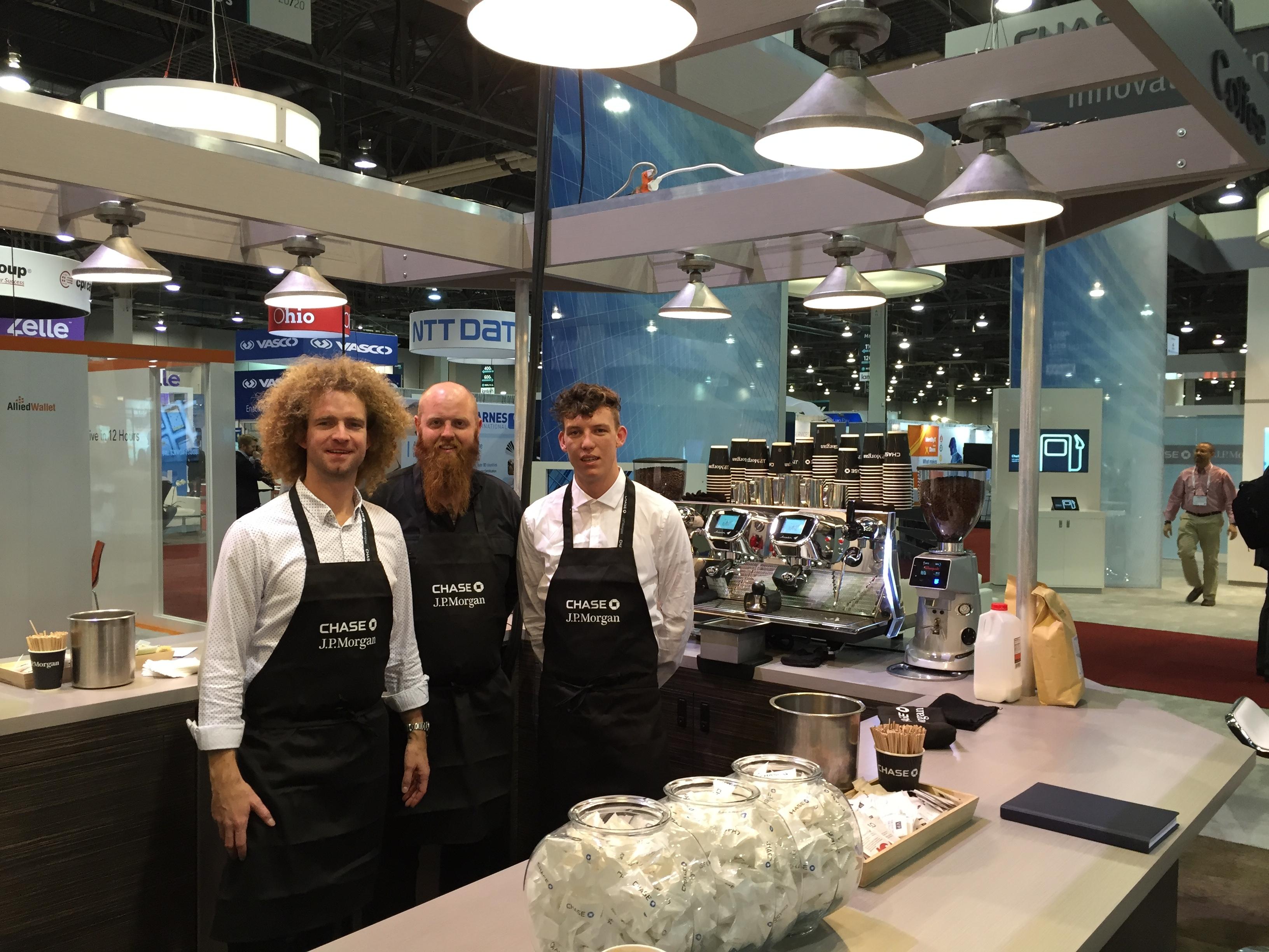 Coffee bar at JP Morgan's stall at a Las Vegas trade fair - Kalles Kaffe