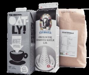 havre mælk fra oatly, barista mælk fra natur mælk samt et kg kaffe fra Copenhagen Coffelab