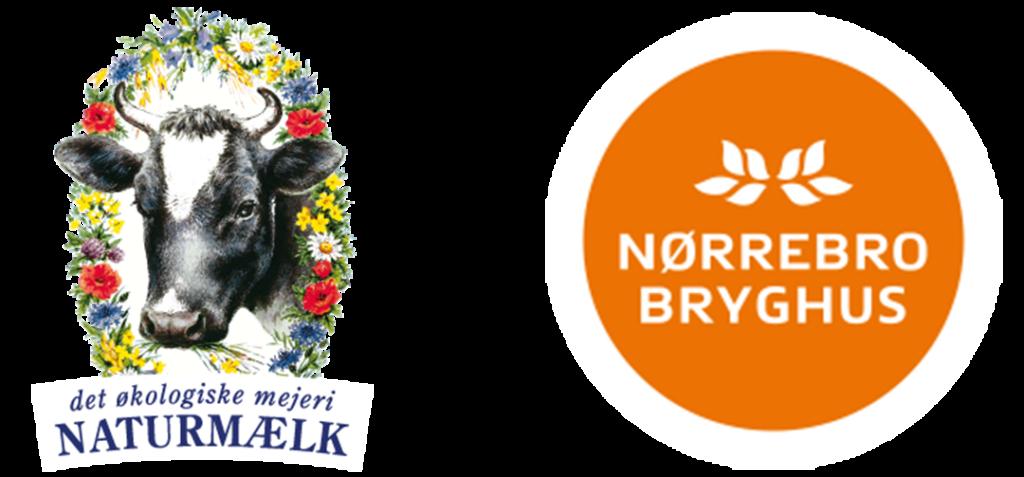 Naturmælk logo med ko og blomster samt nørrebro bryghus logo